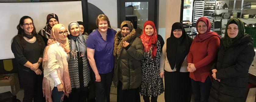 A group of newcomer women at the Thunder Bay Multicultural Association
